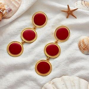 Parisian Red Gold Pendant Dropping Earrings